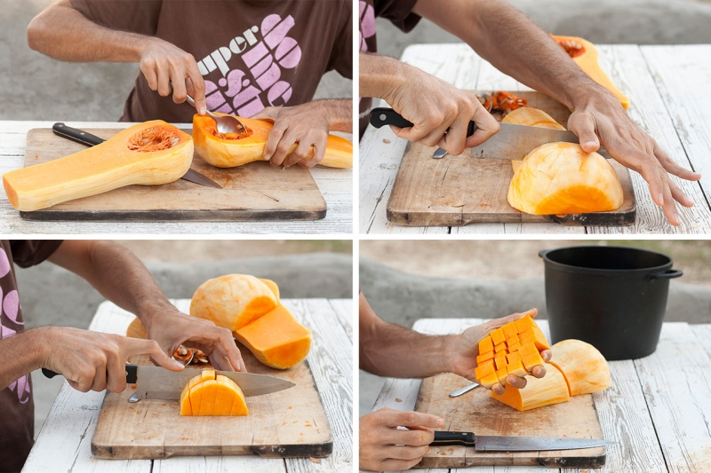 butternut squash chopping step by step
