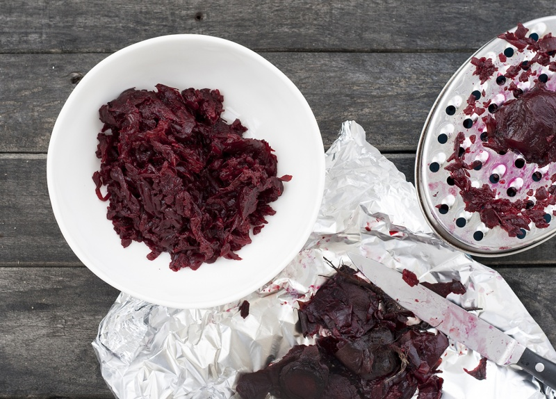roasted beetroots shredded