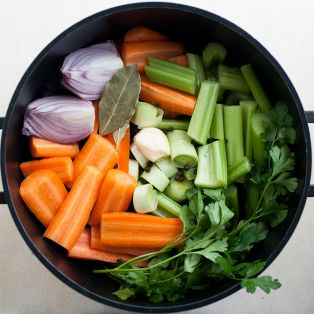 vegetable stock prepped ingredients