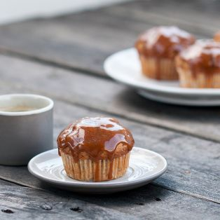 banana muffins with caramel