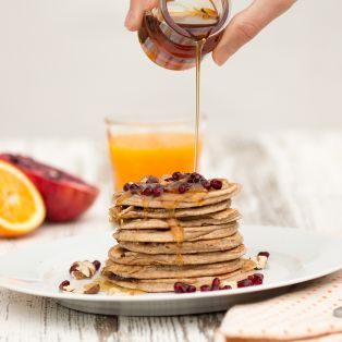 banana pancakes and maple syrup
