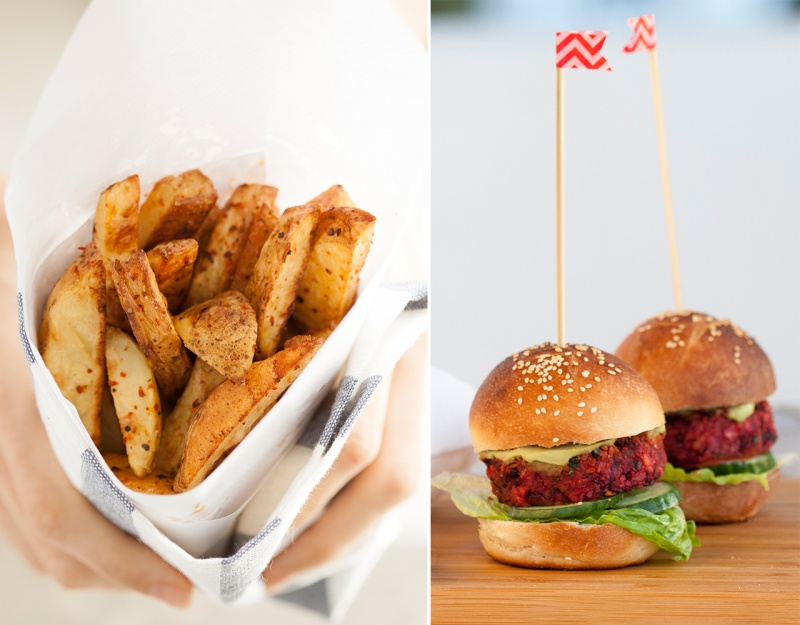 beetroot sliders and homemade fries