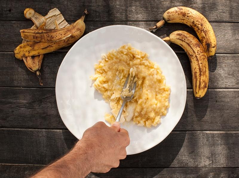 mashing up bananas