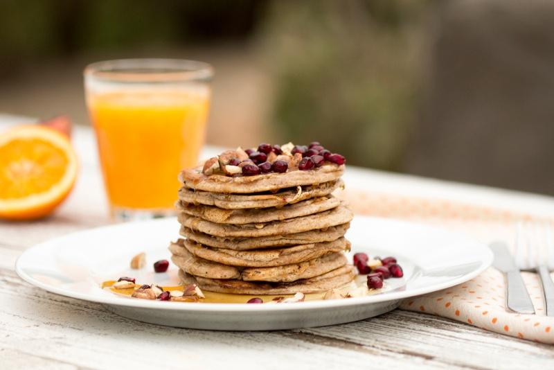 vegan banana pancakes stack