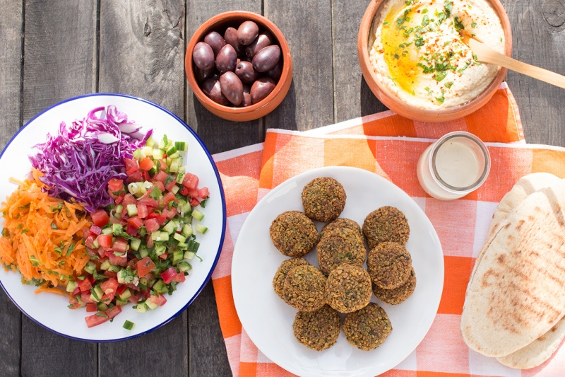 easy falafels and trimmings from above