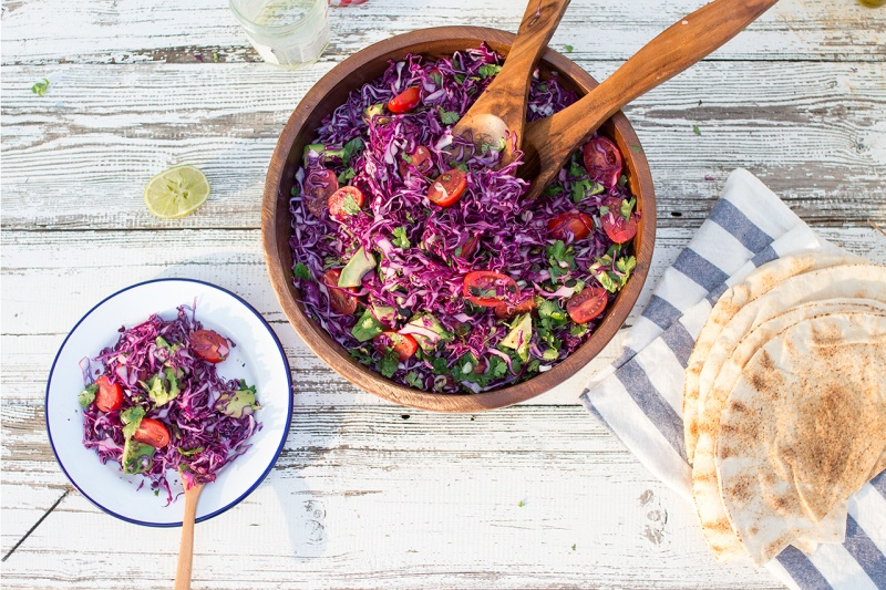 red cabbage avocado salad for six