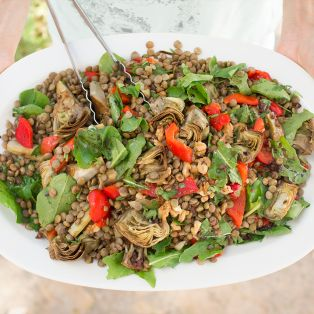 lentils with artichokes and peppers