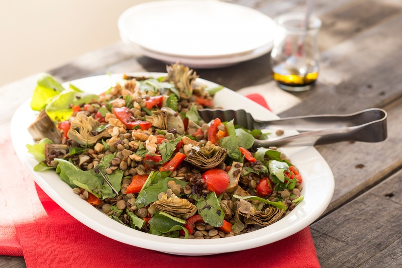 lentils with roast artichokes and peppers