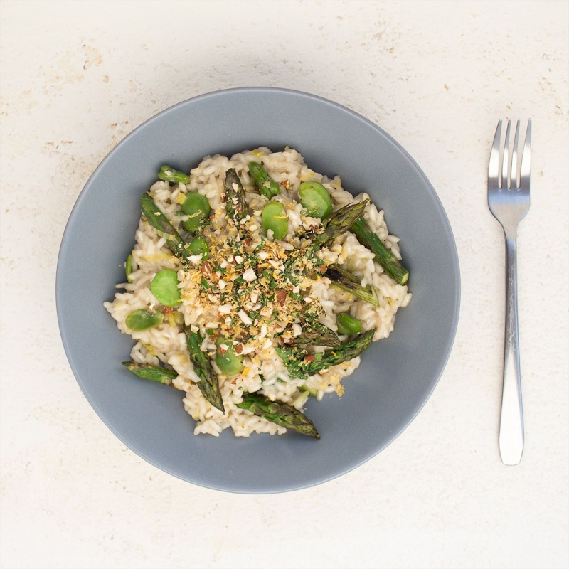 spring risotto portion