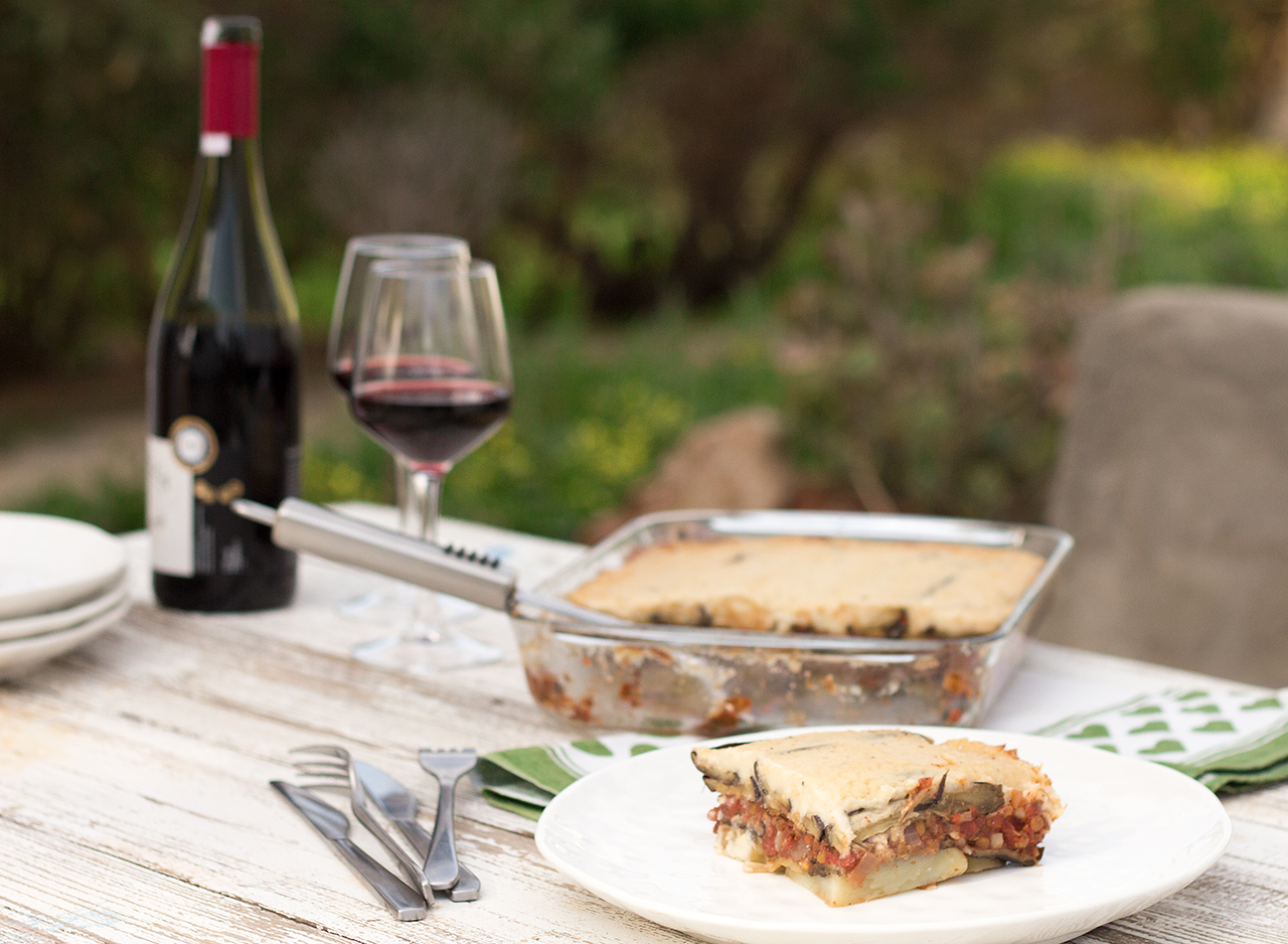 vegan moussaka dinner al fresco