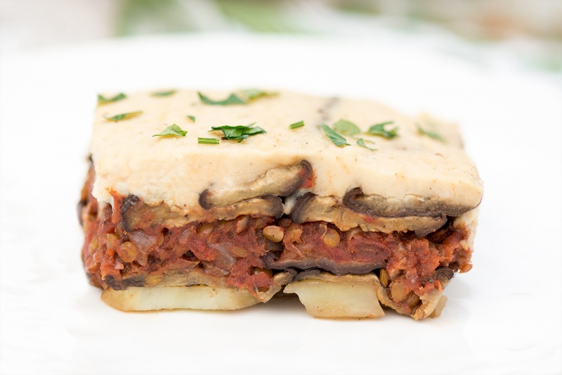 vegan moussaka portion