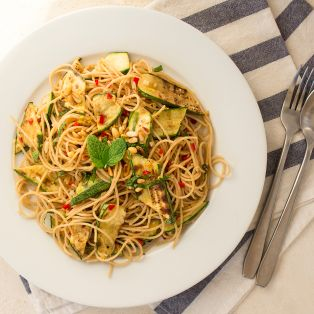 grilled courgette spaghetti