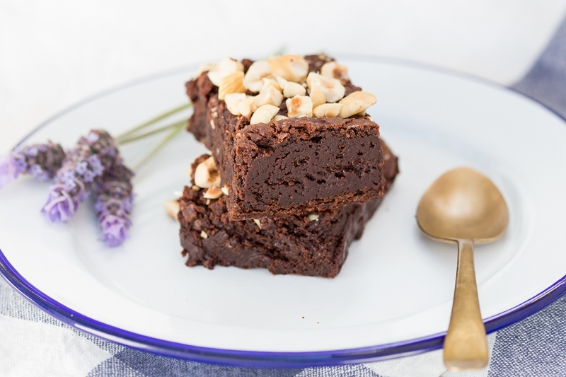 fudgy hazelnut brownies stack