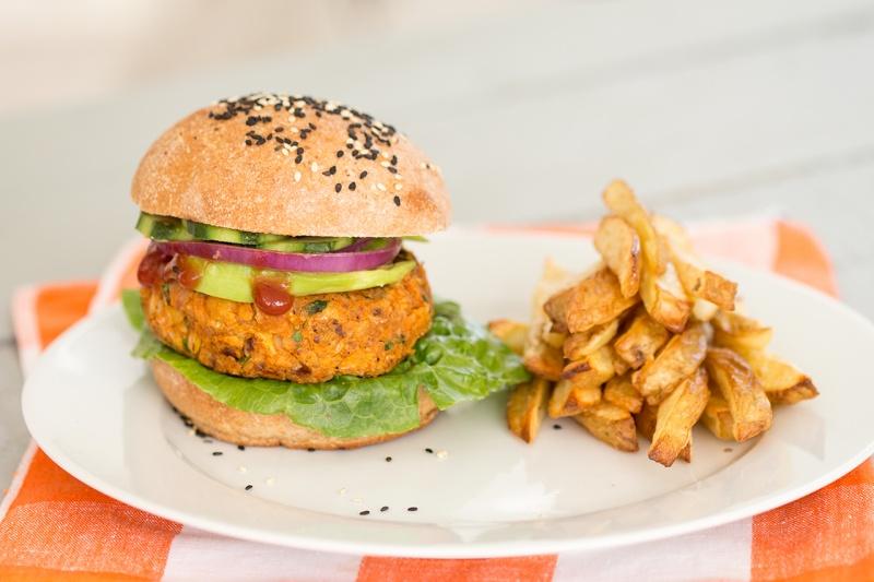 sweet potato burger and fries