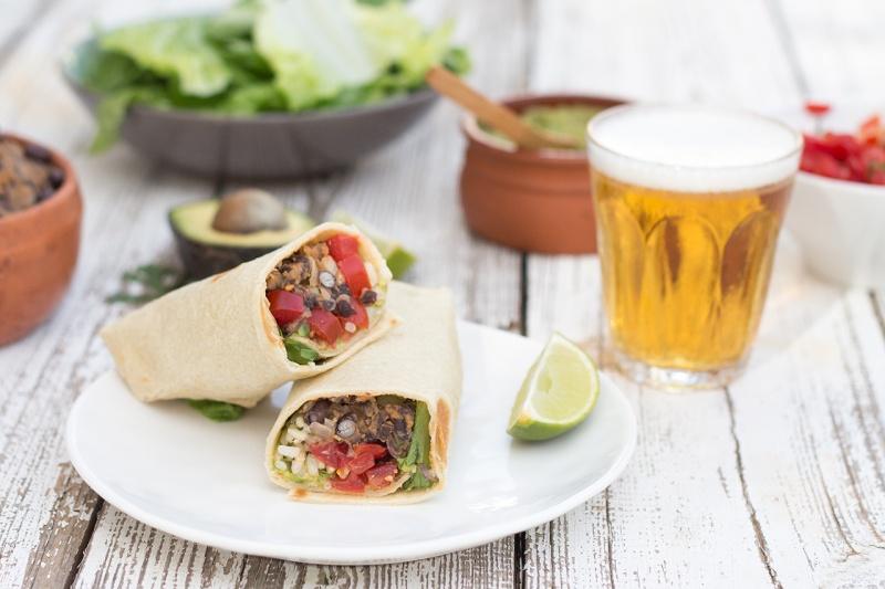 vegan burrito and beer