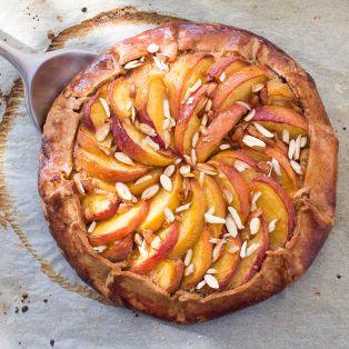Vegan peach frangipane galette