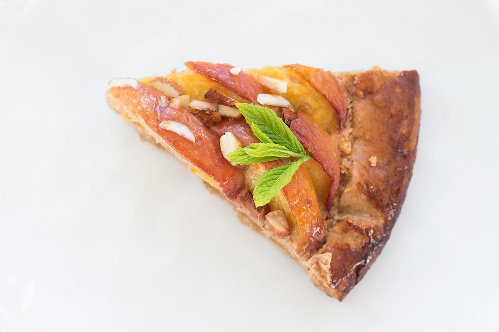 Vegan peach frangipane galette slice