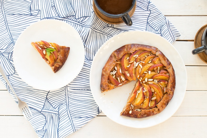 Vegan peach frangipane galette top down