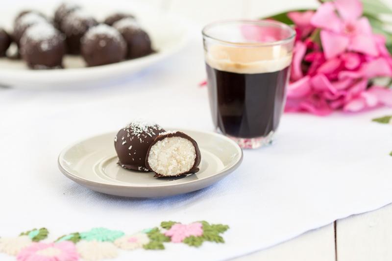 vegan coconut truffles cross section