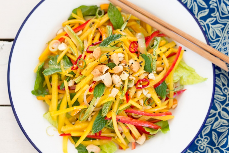 thai mango salad portion close up