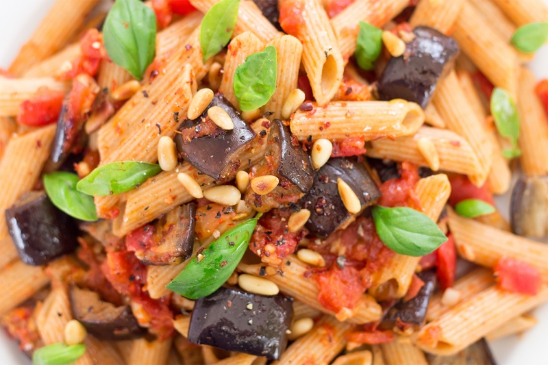 vegan pasta alla norma close up