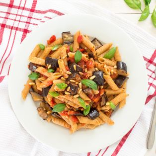 vegan pasta alla norma portion