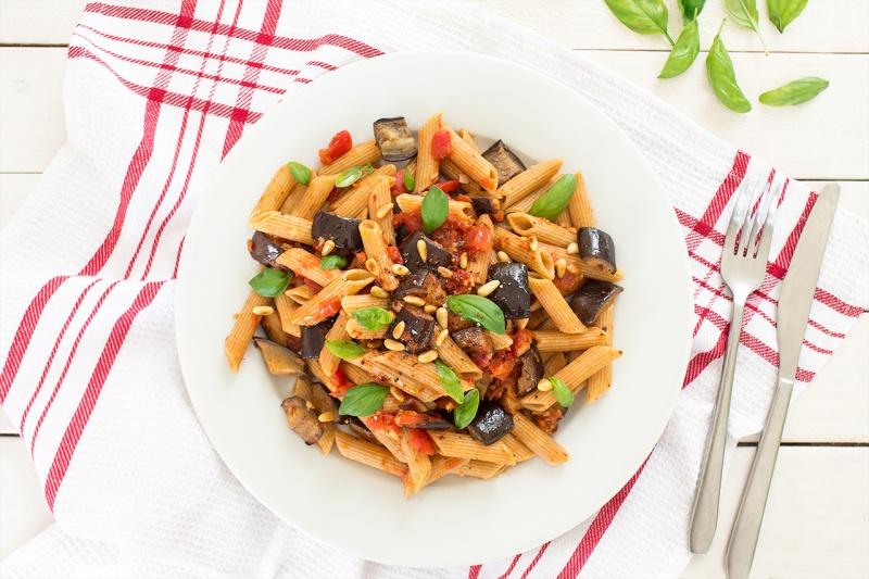 vegan pasta alla norma portion