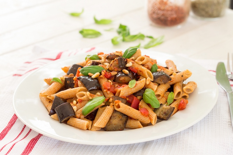 vegan pasta alla norma sideview