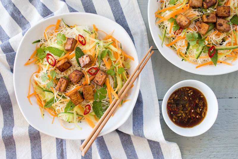 Vietnamese cold noodle salad with tofu - Lazy Cat Kitchen