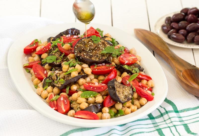 zaatar aubergine chickpea salad dressing
