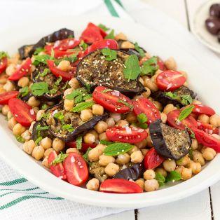zaatar aubergine chickpea salad