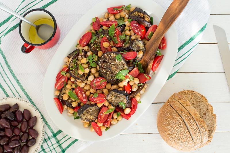 zaatar aubergine chickpea salad top down