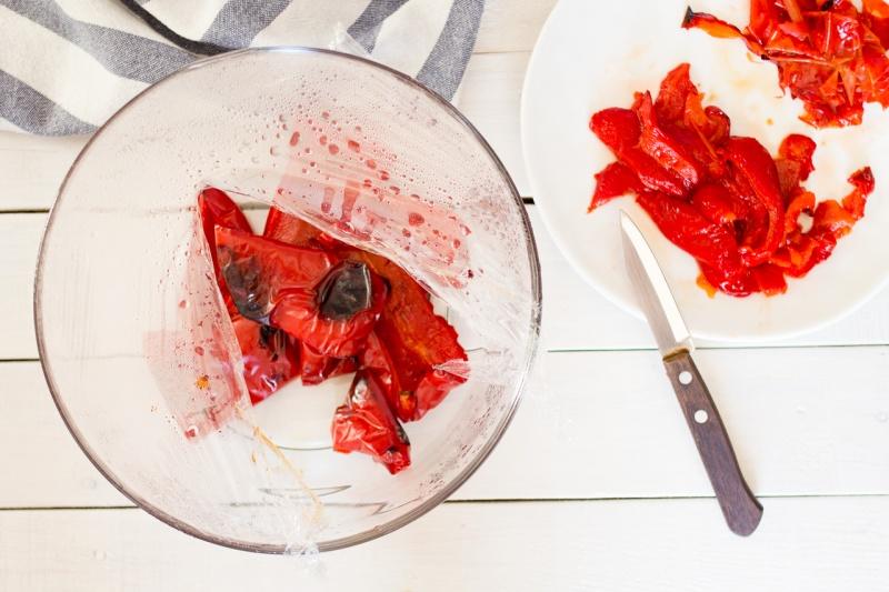 Muhammara sweating red peppers