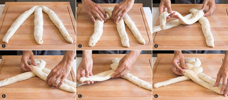 Plaiting challah step by step