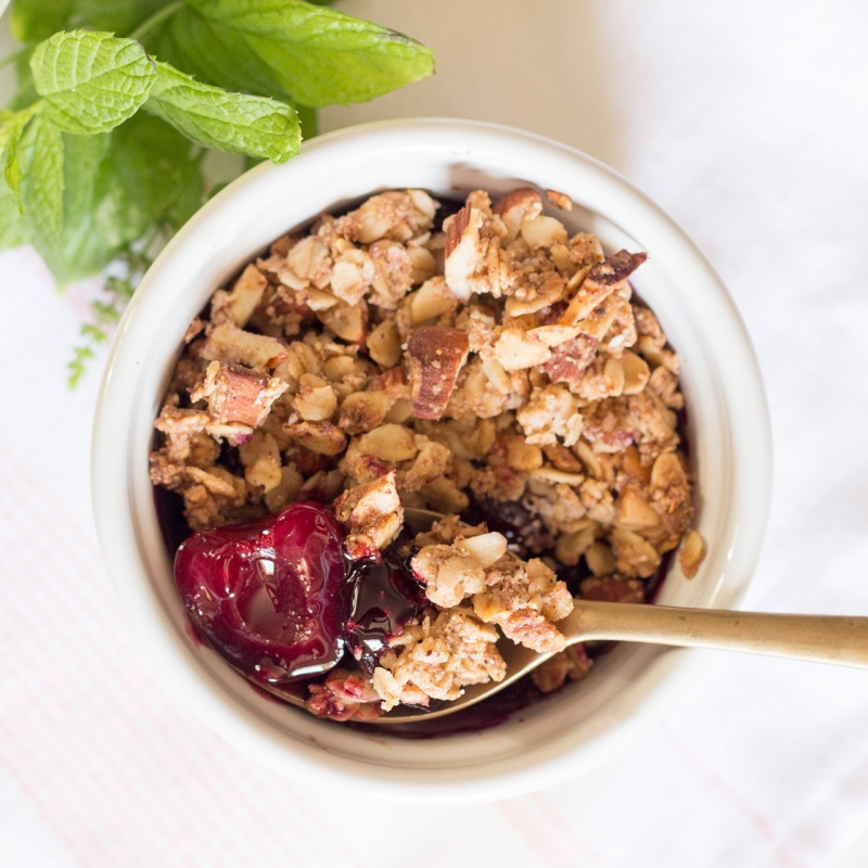 vegan cherry cobbler portion
