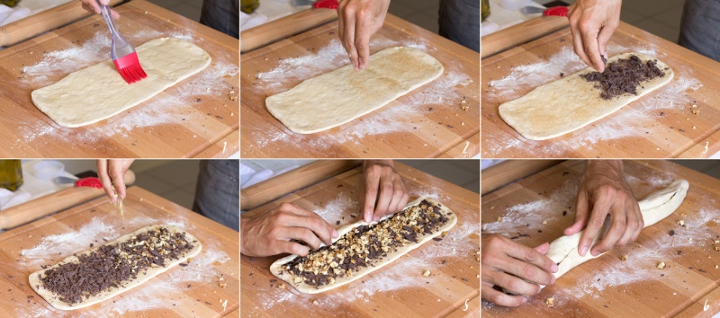 filling challah strands step by step