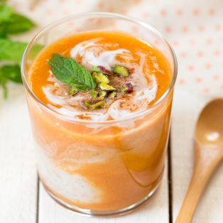 raw apricot buckwheat porridge portion