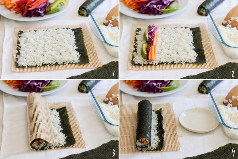 rolling vegan sushi step by step