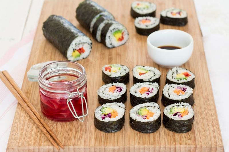 vegan sushi rolls and pickled ginger