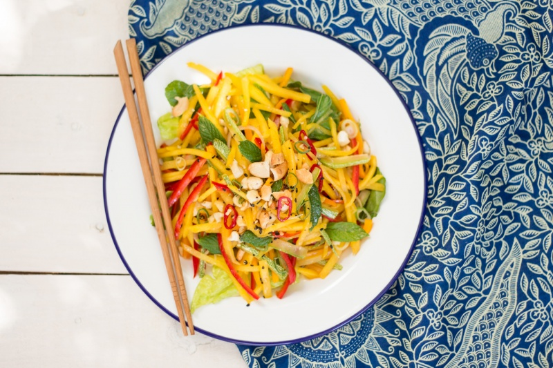 thai mango salad portion top down