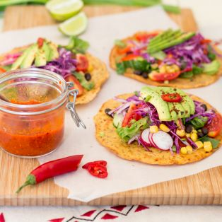 chickpea tacos and fiery pepper sauce