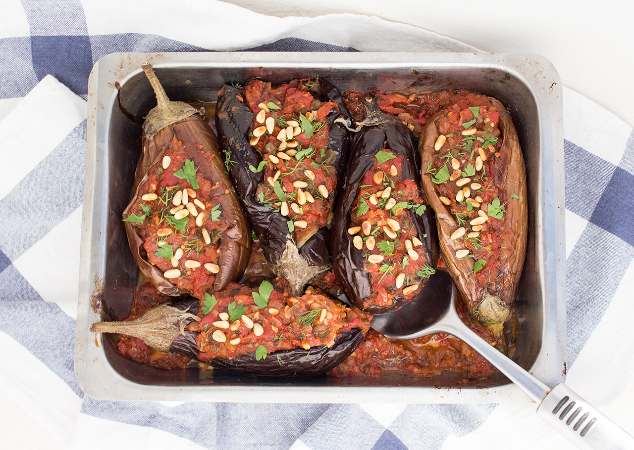 Imam Bayildi Vegetarian Stuffed Aubergines Lazy Cat