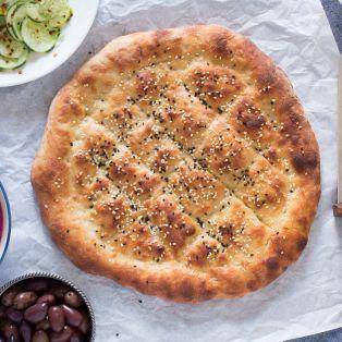 no knead turkish bread top down
