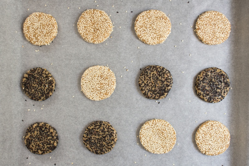 vegan tahini cookies before baking