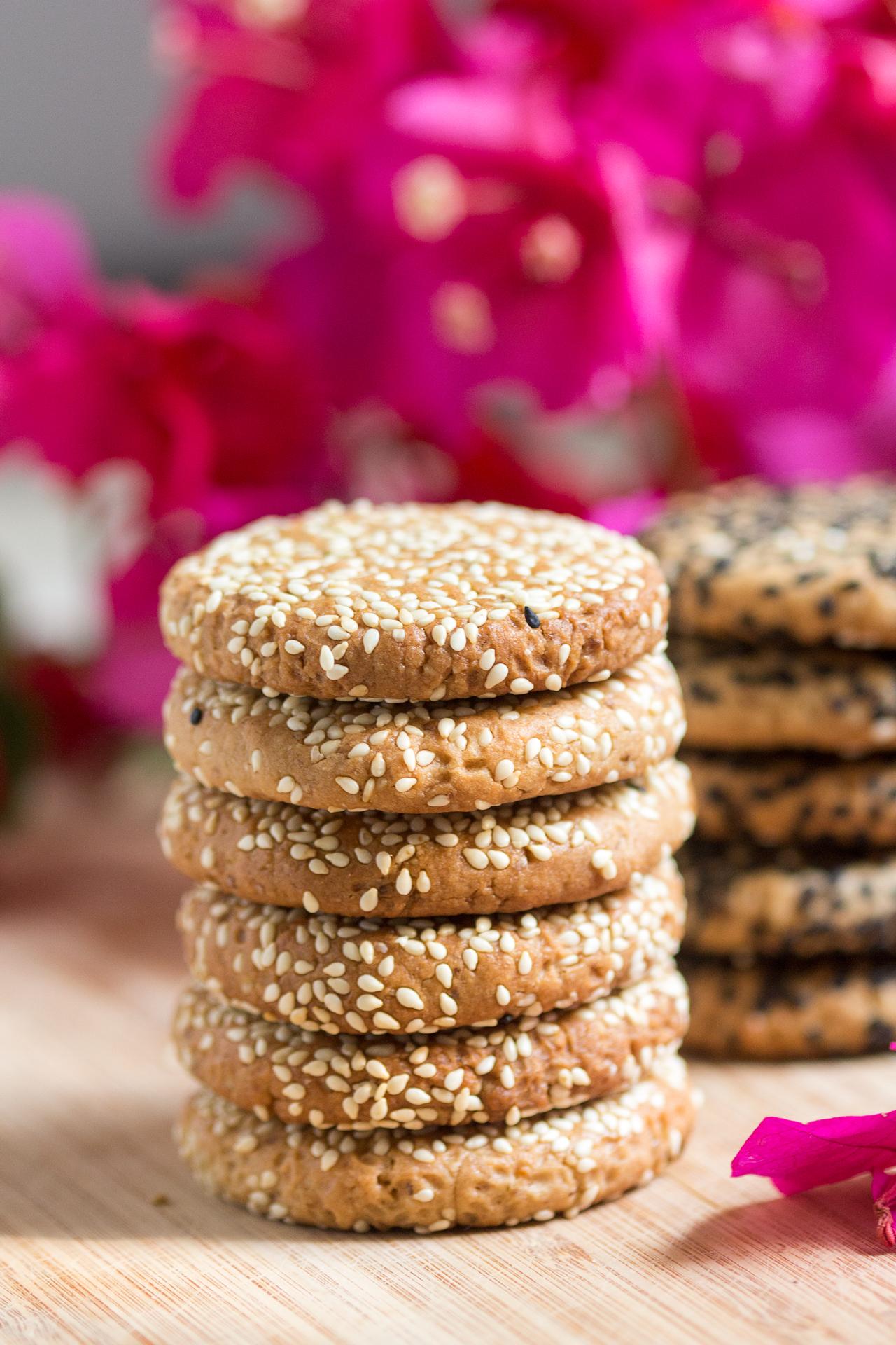 vegan tahini cookies stack