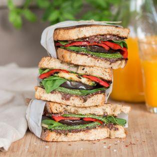 Mediterranean vegan sandwich lunch