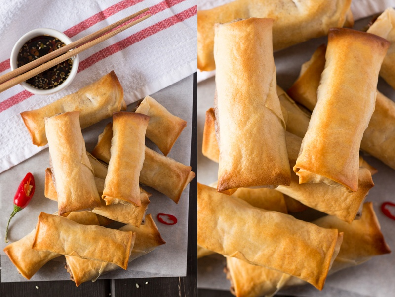 vegan baked spring rolls scattered top down