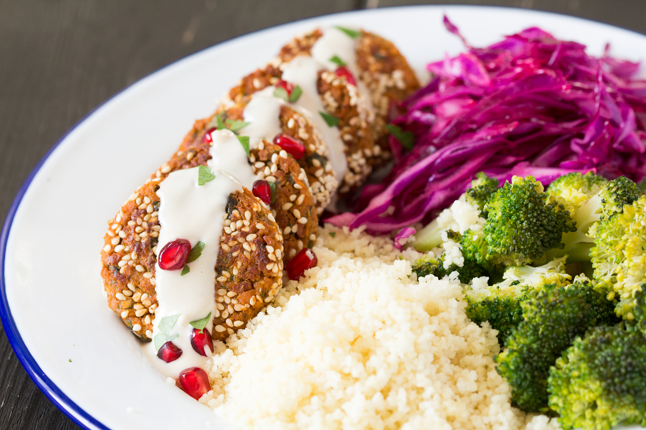 baked sweet potato falafels with tahini sauce lunch