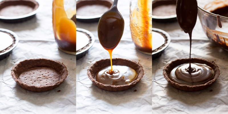 filling vegan chocolate and salted caramel tarts