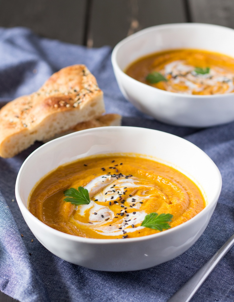 Curried carrot and lentil soup - Lazy Cat Kitchen
